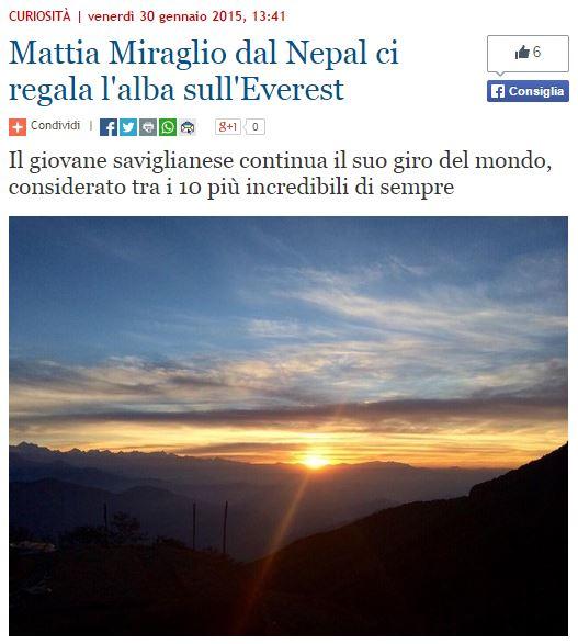 Rassegna stampa Mattia Miraglio - TargatoCN - 30-01-2015